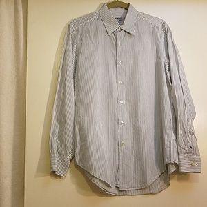 DKNY Blue Striped Cotton Dress Shirt 15 1/2-32/33